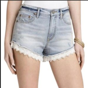 Free People | Distressed Shorts with Crochet Hem